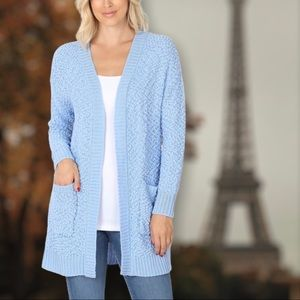 Blue Soft Texture Open Pocket Long Sleeve Cardigan